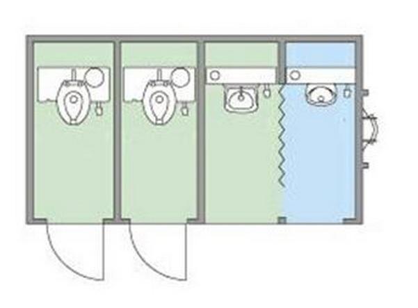Sơ đồ bố trí nội thất nhà vệ sinh 4 buồng